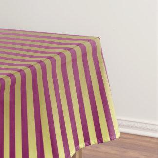 紫色のプラム及び金ゴールドは縞で飾ります テーブルクロス