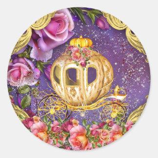 紫色のプリンセスのステッカー ラウンドシール