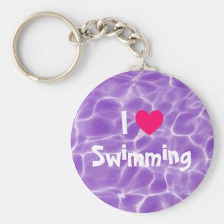 紫色のプールを泳ぐピンクI愛 キーホルダー