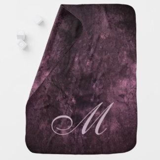 紫色のベビー|の王室のなプラム紫色のカスタムなモノグラム ベビー ブランケット
