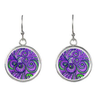紫色のペイズリーの低下のイヤリング イヤリング