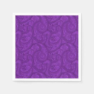 紫色のペイズリー スタンダードカクテルナプキン