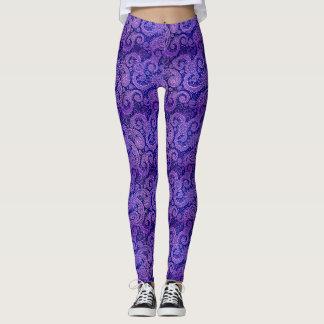 紫色のペイズリー レギンス