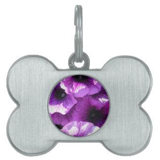 紫色のペチュニアの列 ペットネームタグ