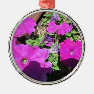 紫色のペチュニア シルバーカラー丸型オーナメント
