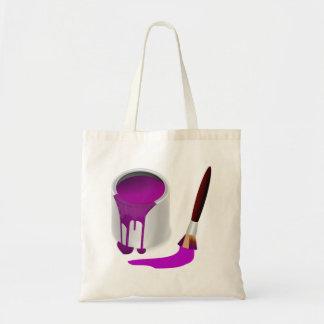 紫色のペンキ及びブラシの予算のトートバック トートバッグ