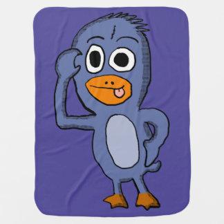 紫色のペンギンのベビーブランケット ベビー ブランケット
