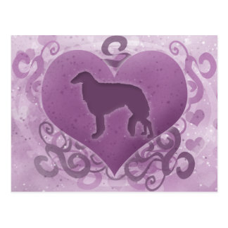 紫色のボルゾイのバレンタイン ポストカード