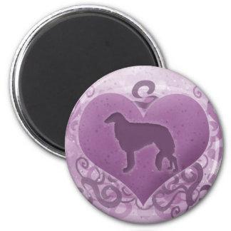 紫色のボルゾイのバレンタイン マグネット