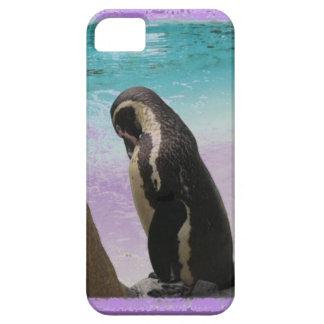 紫色のボーダーペンギンPhonecase iPhone SE/5/5s ケース