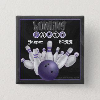 紫色のボーリングのパーティー 5.1CM 正方形バッジ