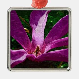 紫色のマグノリアの花 メタルオーナメント