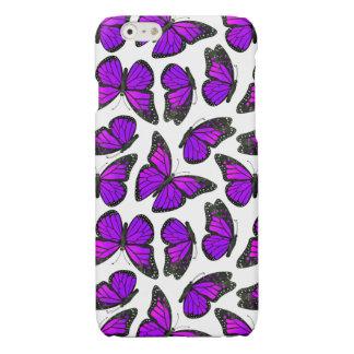 紫色のマダラチョウパターン 光沢iPhone 6ケース