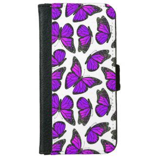 紫色のマダラチョウパターン iPhone 6/6S ウォレットケース