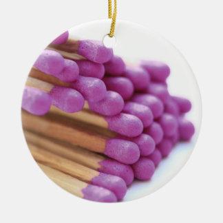 紫色のマッチのオーナメント セラミックオーナメント