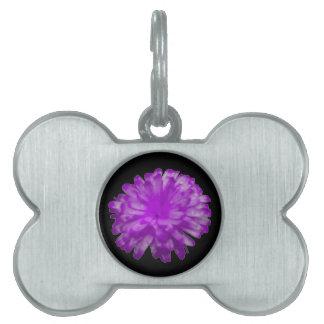 紫色のマリーゴールドのペットタグ ペットネームタグ