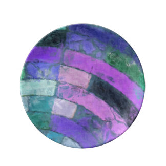 紫色のモザイク 磁器プレート