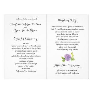 紫色のモダンな水彩画の花の結婚式プログラム 21.6CM X 27.9CM チラシ