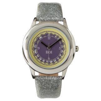 紫色のモノグラムのなアールデコのノベルティの腕時計 腕時計