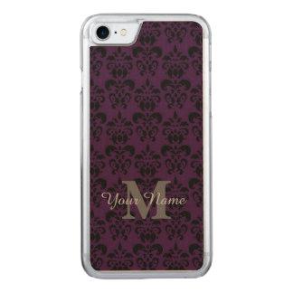 紫色のモノグラムのなダマスク織パターン CARVED iPhone 7 ケース