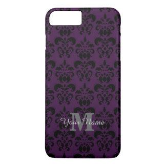紫色のモノグラムのなダマスク織パターン iPhone 8 PLUS/7 PLUSケース