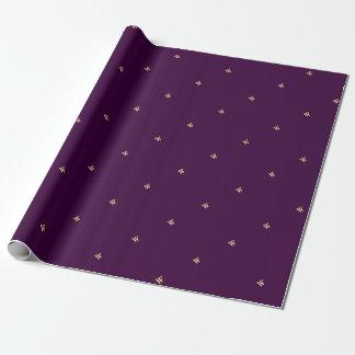 紫色のモノグラムのイニシャルのギフト用包装紙の包装紙 ラッピングペーパー