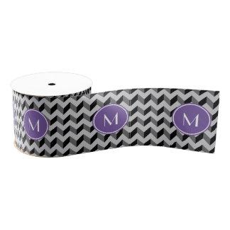 紫色のモノグラムのシェブロン黒いおよび灰色のパターン グログランリボン