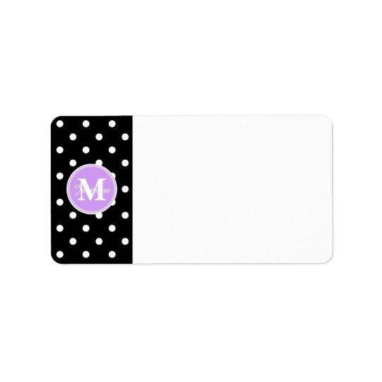 紫色のモノグラムの白黒の水玉模様 宛名ラベル
