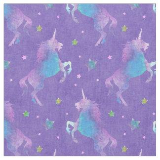 紫色のユニコーンのピンクの星 ファブリック