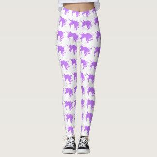 紫色のユニコーンのファンタジーのシルエットパターン レギンス