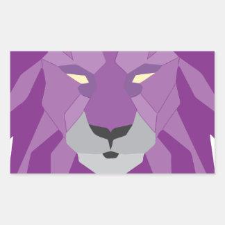 紫色のライオンのvektorの芸術 長方形シール