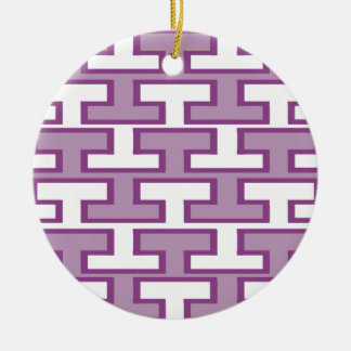 紫色のラベンダーおよび白い煉瓦 セラミックオーナメント