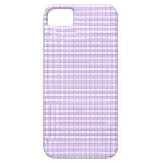 紫色のラベンダーの白いギンガムの点検パターンBackgr iPhone SE/5/5s ケース