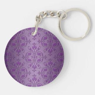 紫色のラベンダーの空想のダマスク織 キーホルダー