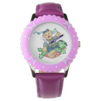 紫色のリボンが付いているカメくまの漫画の斜面 腕時計