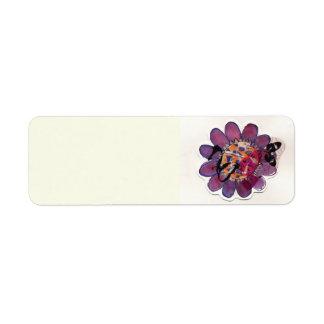 紫色のリボンの花 ラベル