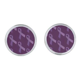 紫色のリボンはパターンをタイルを張りました シルバー カフスボタン