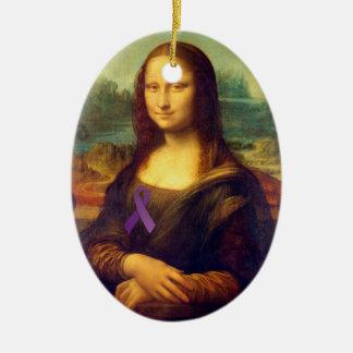 紫色のリボンを持つモナ・リザ セラミックオーナメント