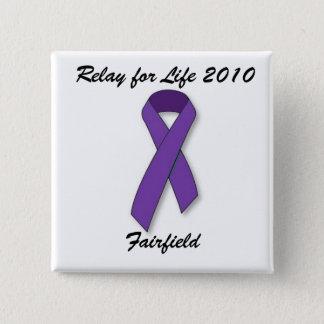 紫色のリボン、生命2010年、Fairfieldのリレー 5.1cm 正方形バッジ