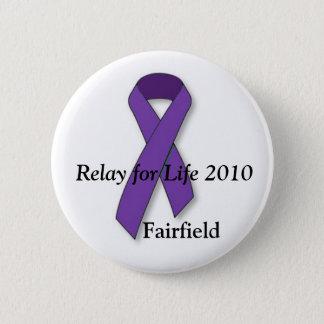 紫色のリボン、生命2010年、Fairfieldのリレー 5.7cm 丸型バッジ
