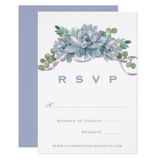 紫色のリボンRSVPが付いている水彩画Echeveria カード