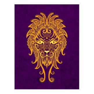 紫色のレオの複雑で黄色い(占星術の)十二宮図 はがき