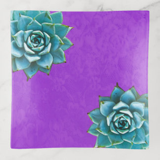 紫色のレースの水気が多い水彩画 トリンケットトレー