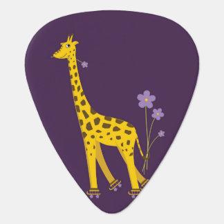 紫色のローラースケートで滑るのおもしろいな漫画のキリン ギター用ピック