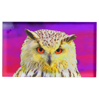 紫色のワシミミズクの角状の絵画 テーブルカードホルダー