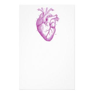 紫色のヴィンテージのハートの解剖学 便箋
