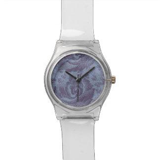 紫色のヴィンテージ花パターン腕時計 腕時計