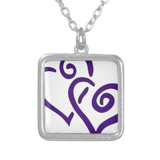 紫色の二重ハート シルバープレートネックレス