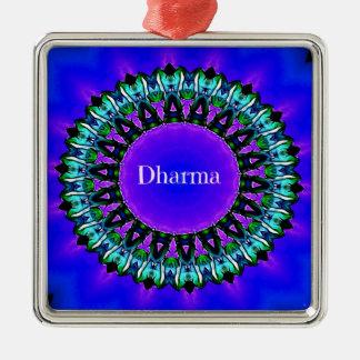 紫色の仏の真実のDarmaの曼荼羅パターン シルバーカラー正方形オーナメント