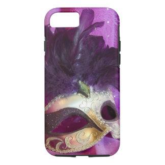 紫色の仮面舞踏会のマスク iPhone 7ケース